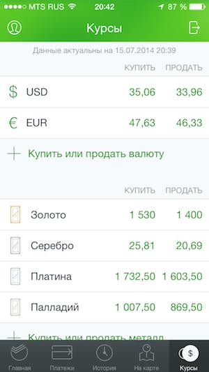 Курсы валют в Сбербанк iphone