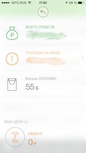 Бонусы Спасибо на iPhone