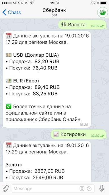 Курсы валют в Телеграм