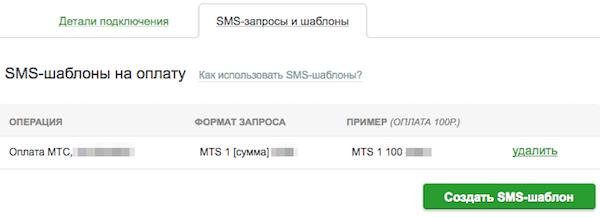 Вкладка с SMS-шаблонами