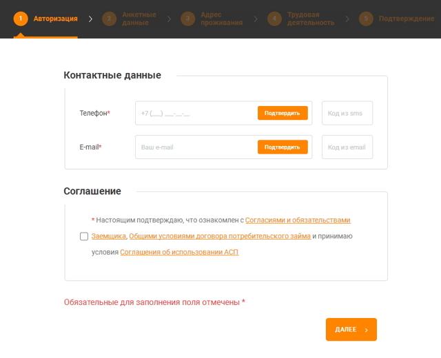 Сайты займов онлайн заявка